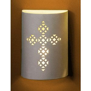 "9"" Cylinder Sconce w/ Traditional Cross Emblem"