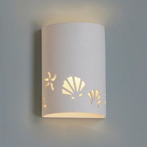"9""  Seashore Themed Ceramic Cylinder Sconce"