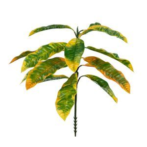 Outdoor Artificial Croton Bush w/ Yellow and Green Leaves