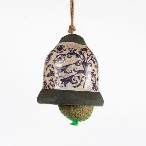 Blue and White Ceramic Bell Style Bird Feeder