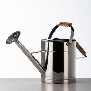 Large Stainless Steel Watering Can w/ Wood Handle