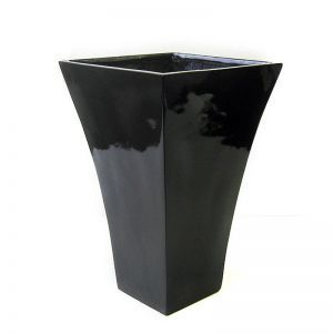 20 inch Tall Bidwell Fiberglass Tall Tapered Square Planter - Black