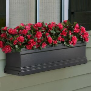 Black Supreme Fiberglass Flower Window Boxes
