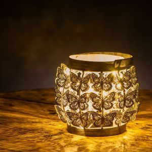 Lirico Decorative Lantern with Butterfly Pattern and Antique Finish