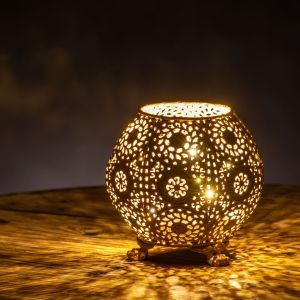 Lacepoint Decorative Lantern with Antique Gold Finish