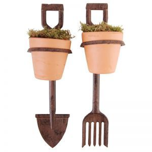Fork and Spade Decorative Garden Stakes w/ Terra Cotta Pots