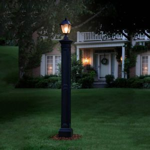 Lexington Lamp Post with Aluminum Ground Mount- Black