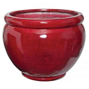 Lohan Fiberglass Tapered Round Planter - Red/Black