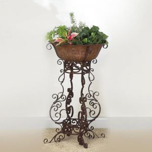 Medium Brown Taupe Iron Four Leg Plant Stand With Planter