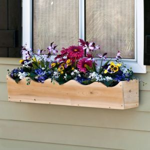 Rustic Scalloped Cedar Wood Window Box