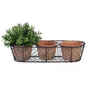 Set of 3 Rustic Pots in Wire Basket