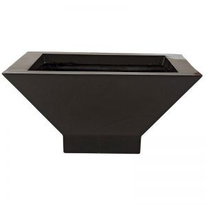 Short and Modern Tapered Square Fiberglass Planter - Glossy Black