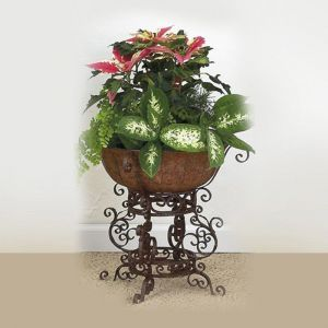 Small Brown Taupe Iron Four Leg Plant Stand With Planter