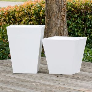 Tapered Urban Chic Fiberglass Planter - Choose from 3 Colors and 2 Sizes