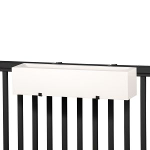 Modern railing planter shown in white
