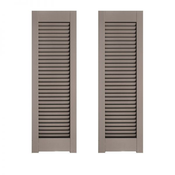 18in Wide Architectural Collection Single Panel Louvered Shutters W Horns Pair