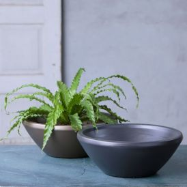19in. Lanai Low Bowl Planter - Choose from 2 colors