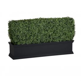 Outdoor Artificial Boxwood Hedges in Black Window Boxes