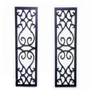 10in. Wide Orleans Aluminum Decorative Shutters in Black - Pair