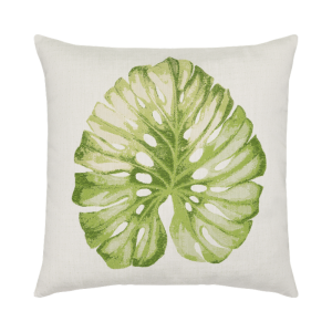 "Lichen Green Leaf Pillow, 22""x22"""