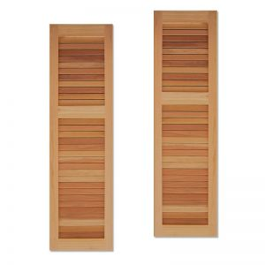 "15"" Wide Unequal Cedar Louvered Exterior Shutters"
