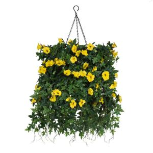 "12"" Hanging Basket with Artificial Morning Glory Flowers - 4 Colors"