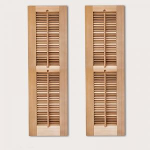 12in. Wide -2 Panel Exterior Plantation Shutters w/Optional Faux Tilt Rod