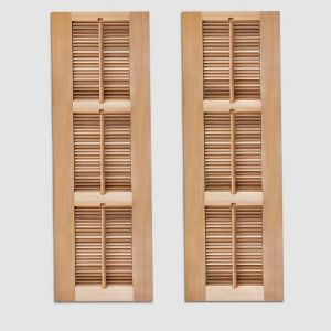12in. Wide -3 Panel Exterior Plantation Shutters w/Optional Faux Tilt Rod