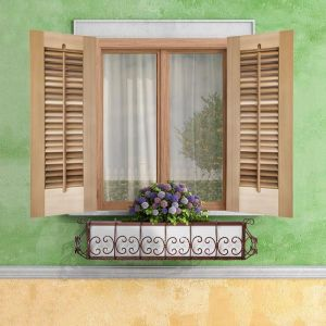 18in. Wide -Single Panel Exterior Plantation Shutters w/Optional Faux Tilt Rod