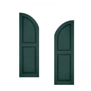 12in. Wide - Architectural Collection Raised 2 Equal Panel Shutters w/ Arched Top (pair)