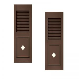 12in. Wide - Designer Collection Louvered over Paneled Fiberglass Exterior Shutters (pair)
