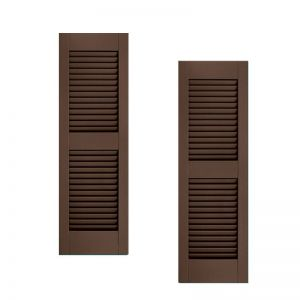 12in. Wide w/ Center Rail - Architectural Collection Fixed Louvered Composite Fiberglass Shutters (pair)