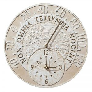 """14 1/2""""Fossil Celestial Thermometer Clock"""