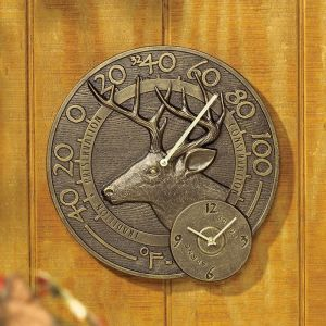 "14"" Buck Thermometer Clock"