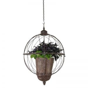Hanging Sphere Planter w/ Burnished Taupe Wire