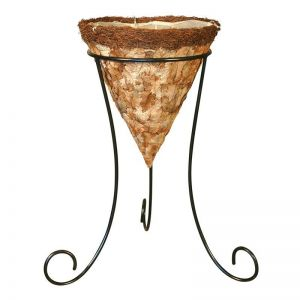 16in. Larkwood Pressed Leaf Cone Basket with Tripod Stand