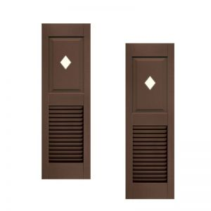 18in. Wide - Designer Collection Panel Over Louver Fiberglass Exterior Shutters (pair)
