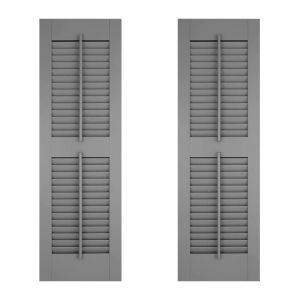 18in. Wide w/ Center Rail - Architectural Collection Fixed Louvered Composite Fiberglass Shutters w/ Faux Tilt Rod (Pair)