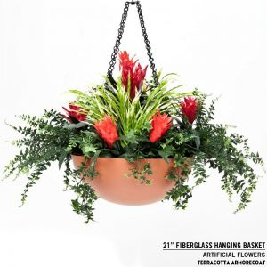 21in. Fiberglass Hanging Basket, includes chain and swivel hook - 20 colors to choose from!