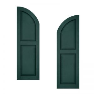 21in. Wide - Architectural Collection Raised 2 Equal Panel Shutters w/ Arched Top (pair)