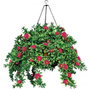 "22"" Hanging Basket with 9 Artificial Azalea Plants -3 Colors"