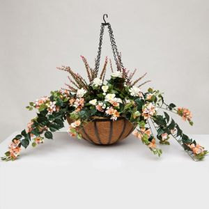 "22"" Hanging Basket with Artificial Bougainvillea Arrangement with 8 Plants - Peach/Pink/Cream"