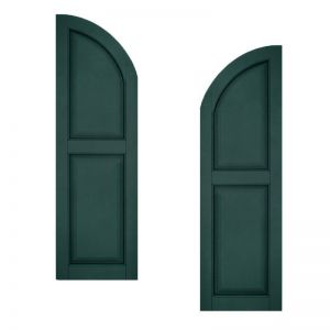 24in. Wide - Architectural Collection Raised 2 Equal Panel Shutters w/ Arched Top (pair)