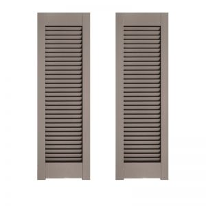 24in. Wide - Architectural Collection Single Panel Louvered Shutters w/ Horns (Pair)