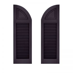 24in. Wide - Architectural Collection Solid Arched Top Louvered Shutters (Pair)
