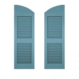 15in. Wide - Architectural Collection Solid Arched Top w/ Center Rail Louvered Shutters (Pair)