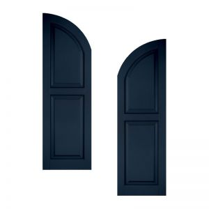 15in. Wide - Classic Collection Raised 2 Equal Panel Shutters w/ Arched Top (pair)