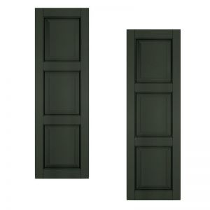 24in. Wide - Architectural Collection Raised 3 Equal Panel Shutters (pair)