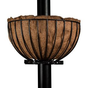 Metal Basket Planter for Pole w/ Coco liner