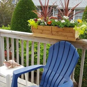 28in. Rounded Cedar Deck Rail Planter - Half Barrel Design